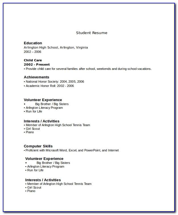 Resume Example For High School Senior