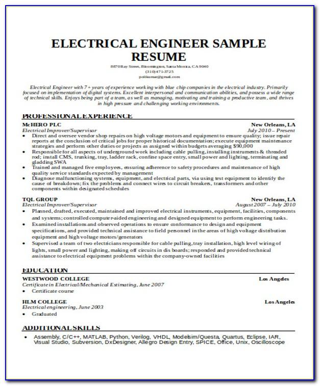 Resume Example For Internship Engineering