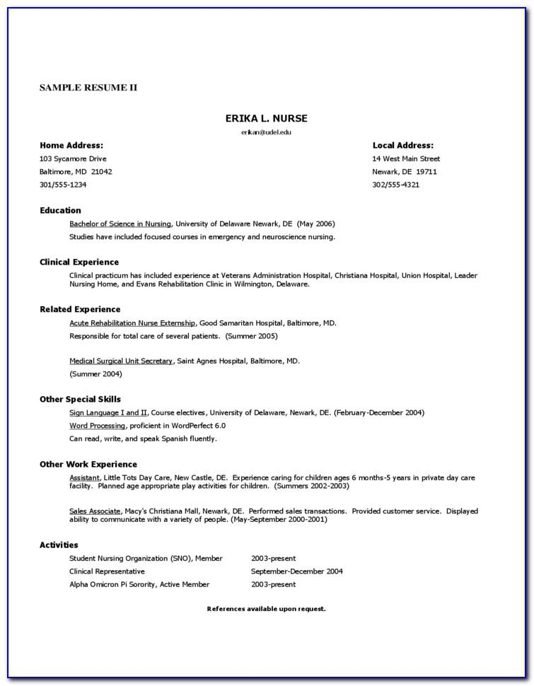 Resume Example For Nursing Graduates