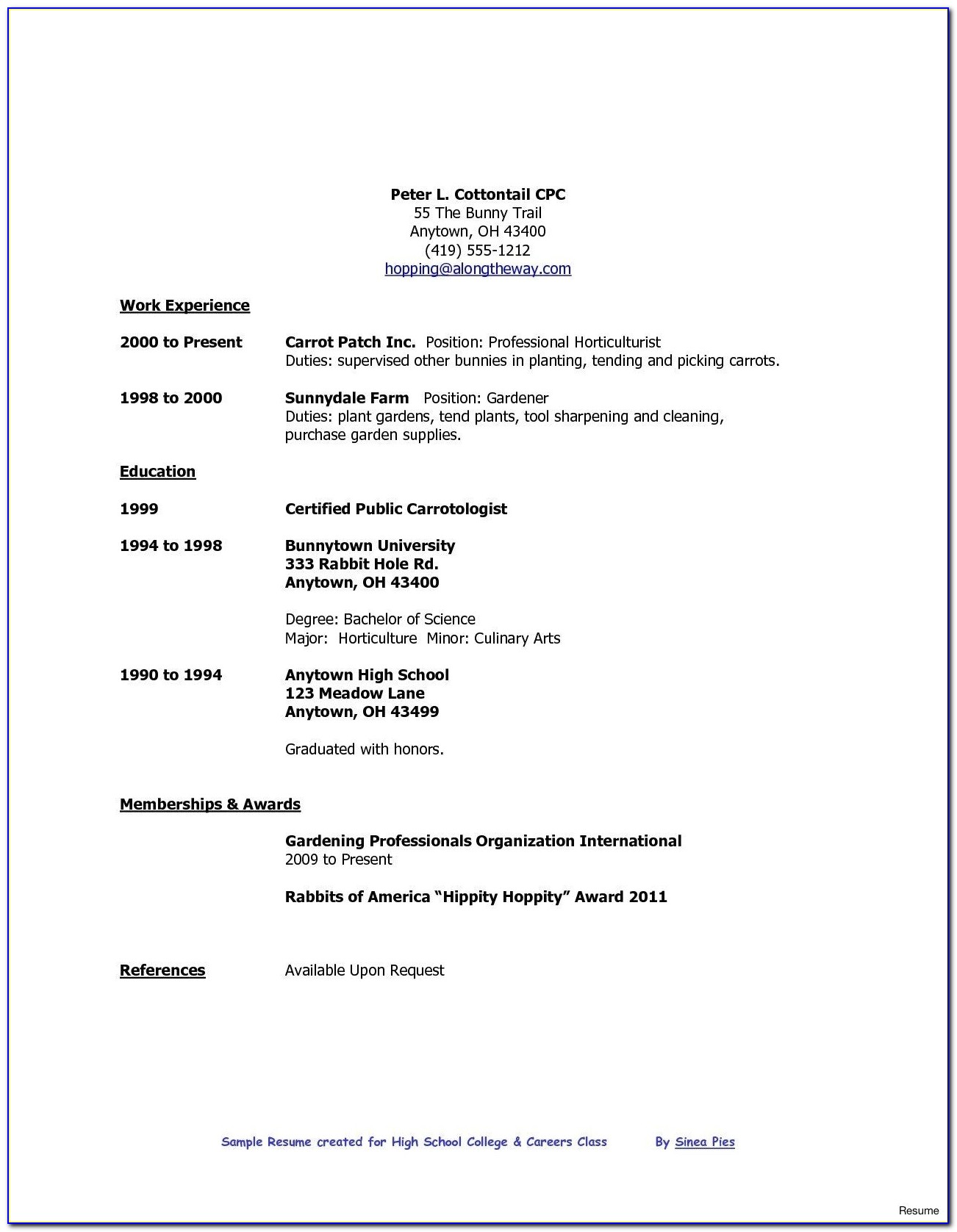 Resume Example For Recent High School Graduate