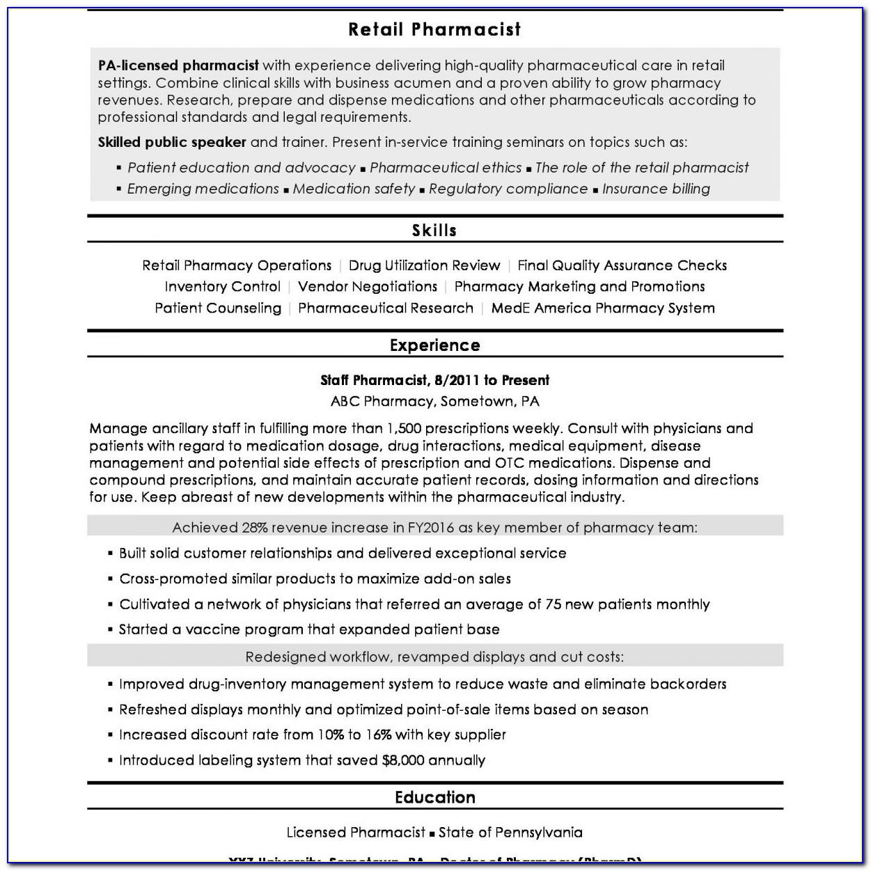 Resume Example For Retail Store Manager