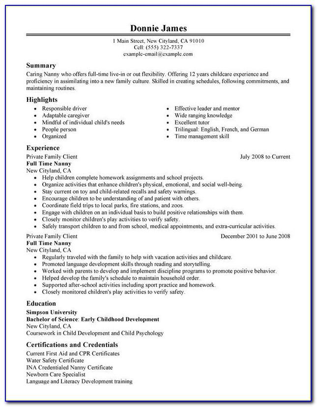 Resume Example Template Free