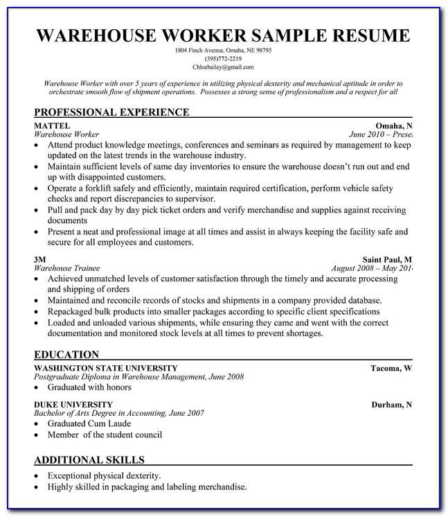 Resume Example Warehouse Worker
