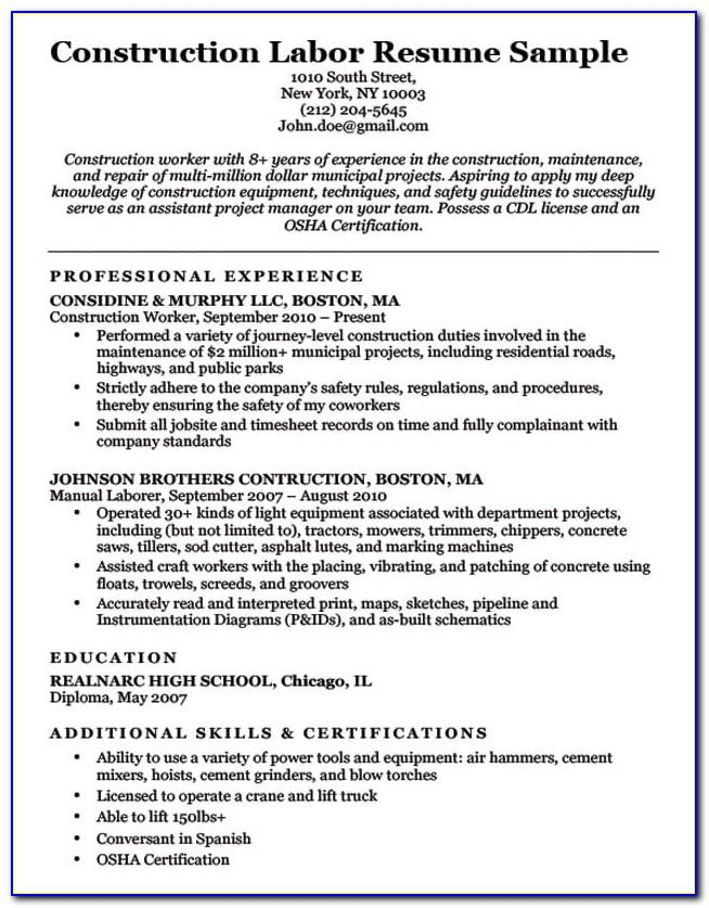Resume Examples Construction Laborer