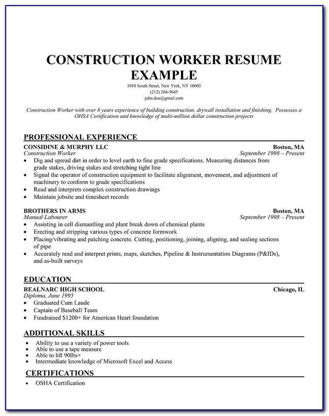 Resume Examples Construction Worker