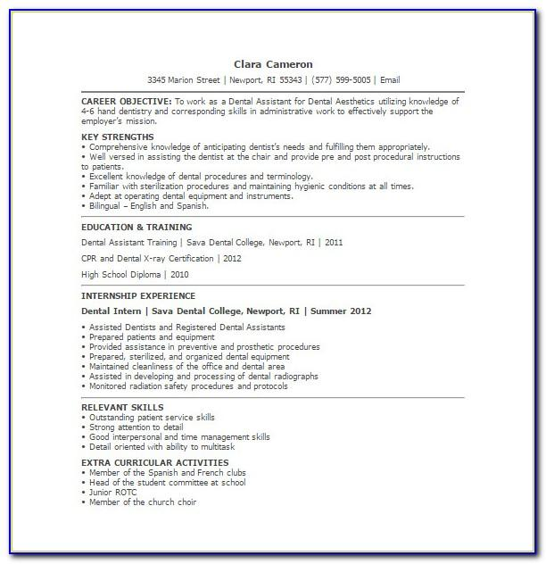 Resume Examples Dental Assistant