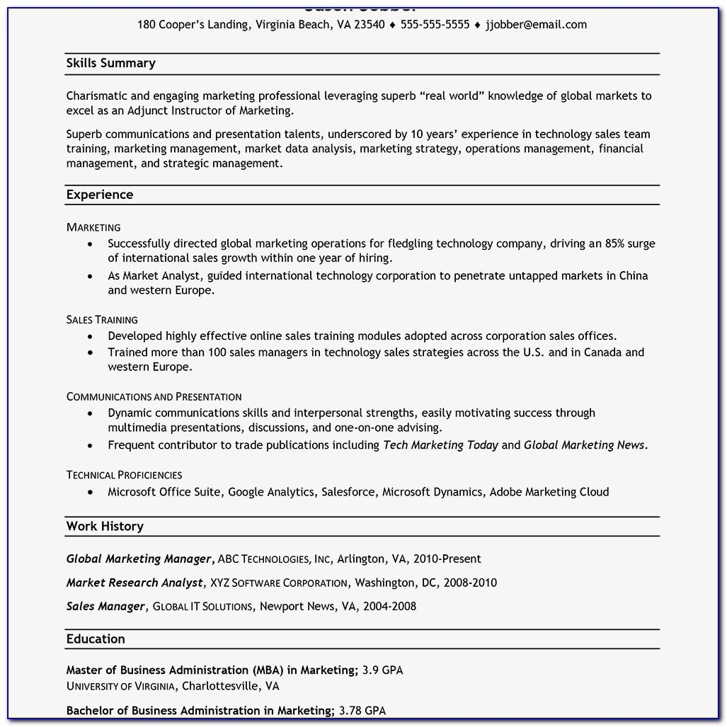 Resume Examples For Career Changers