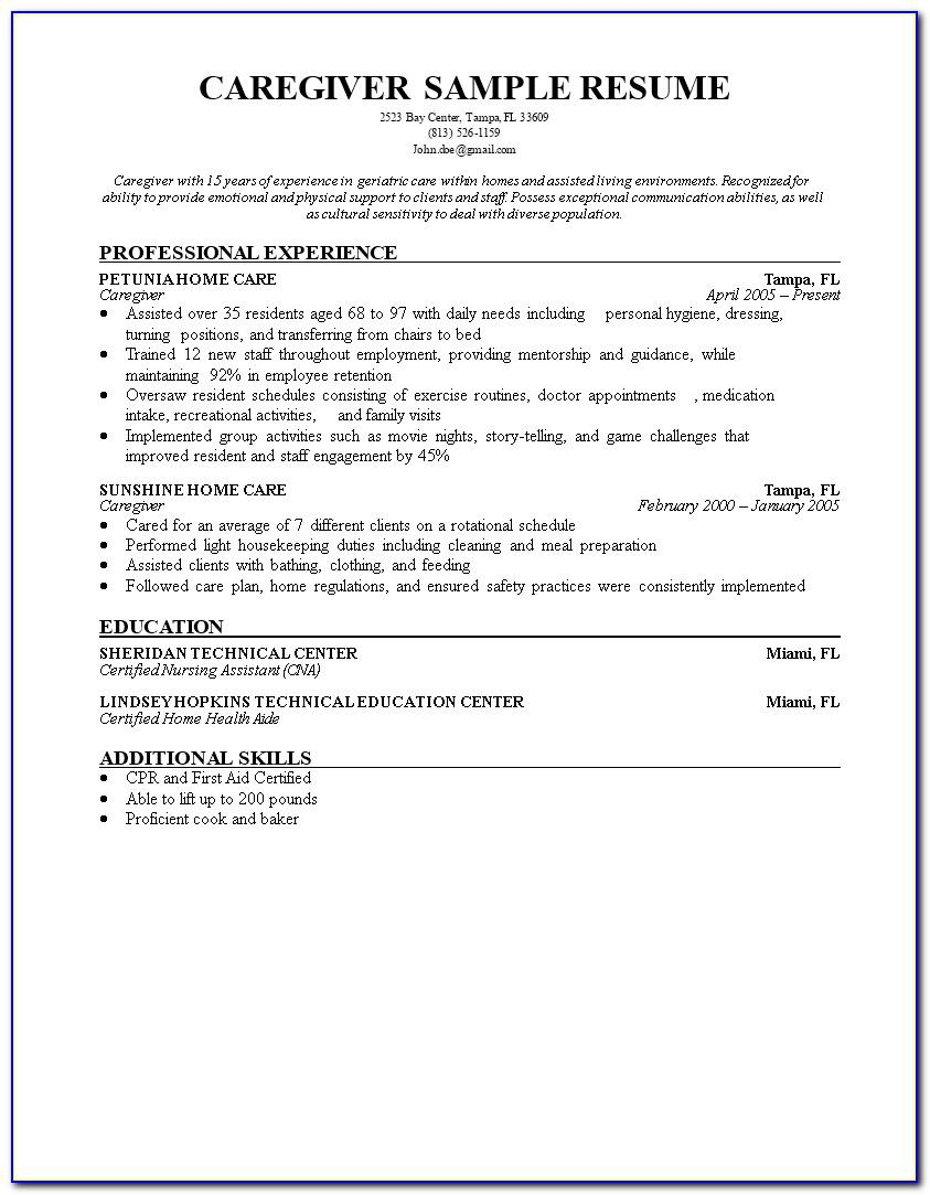 Resume Examples For Caregiver Position