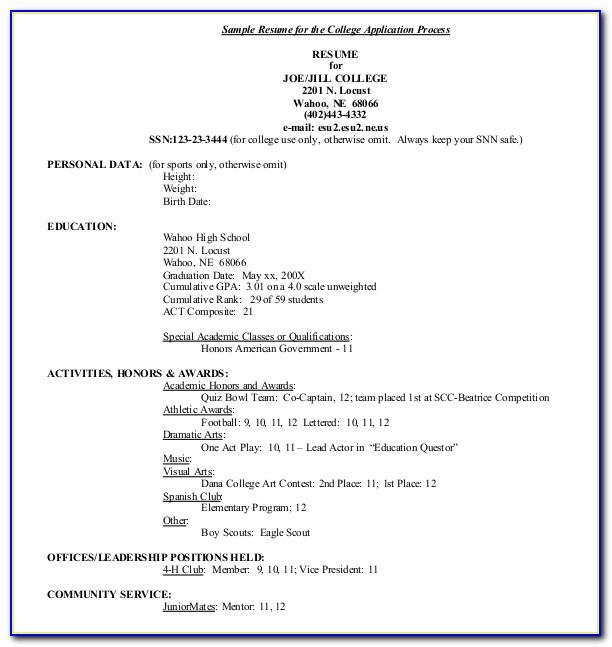 Resume Examples For College Admission