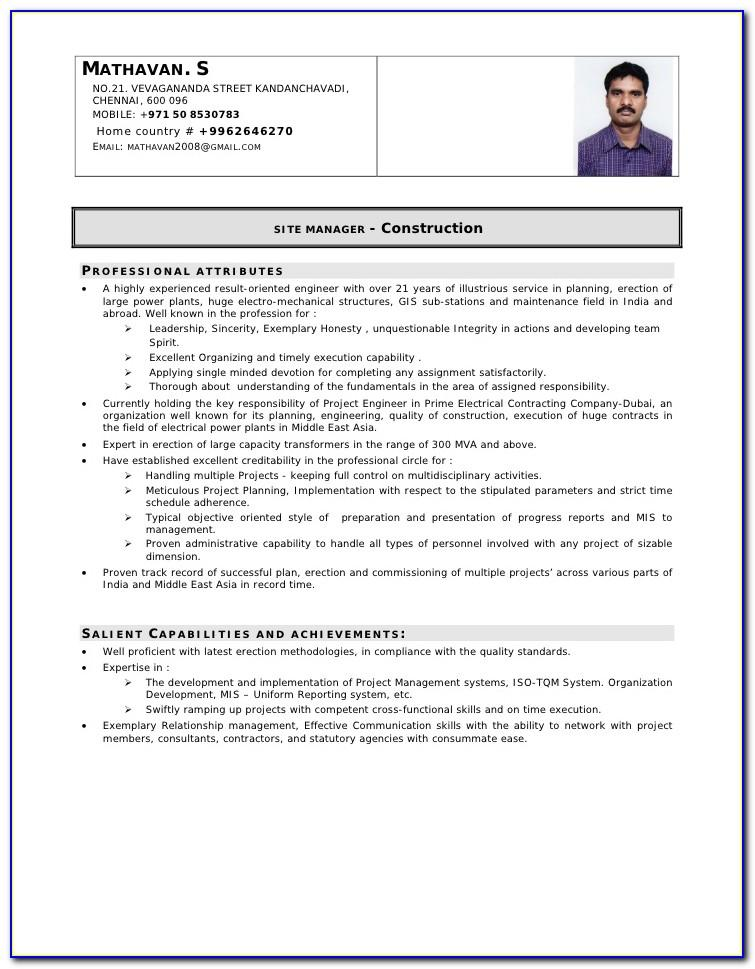 Resume Examples For Construction Project Manager
