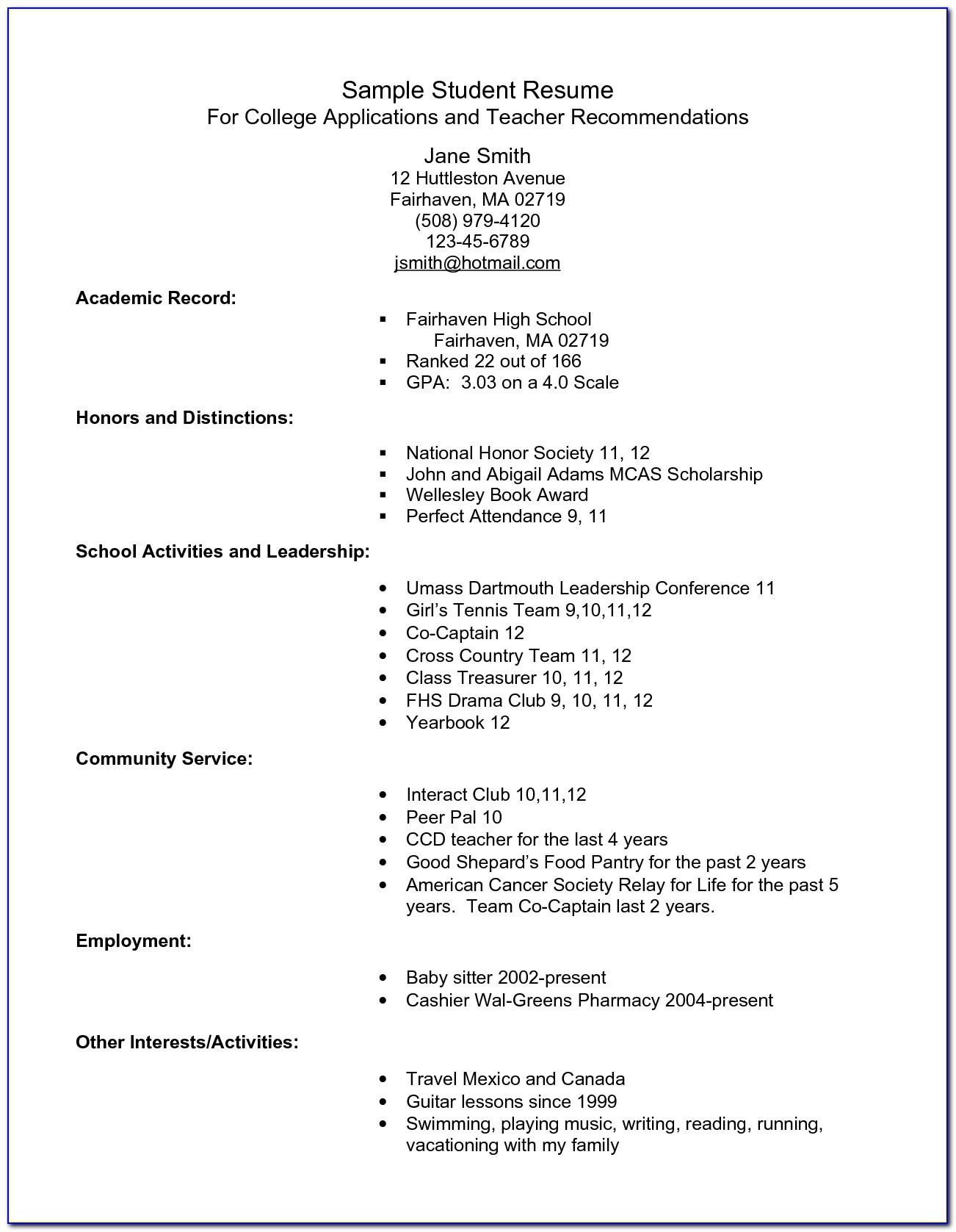 Resume Examples For Highschool Students Applying To College