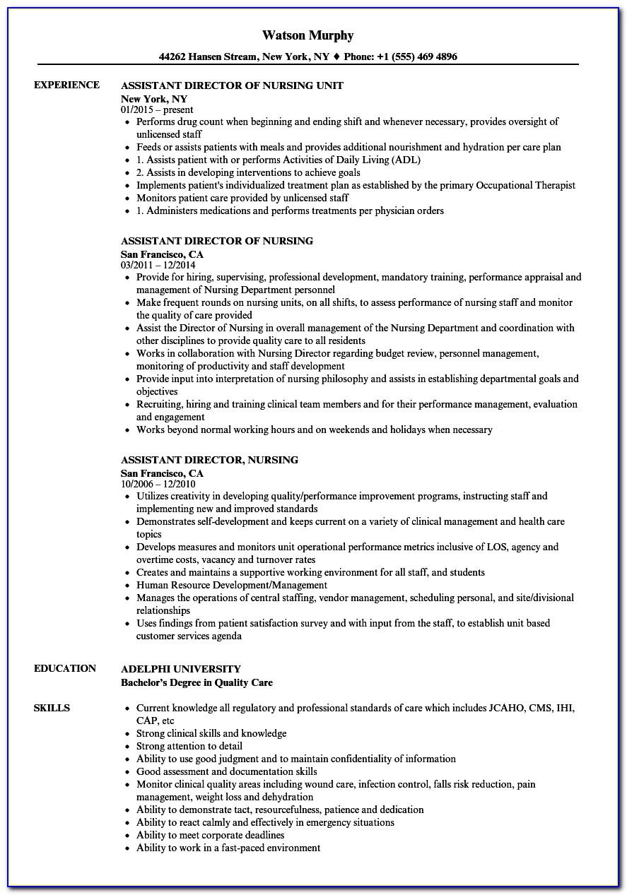Resume Examples For Nursing Assistant Jobs