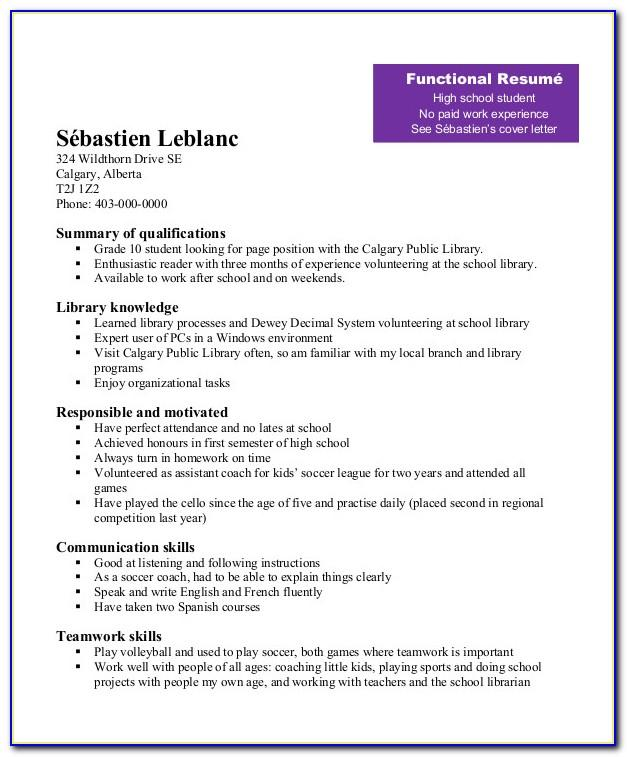 Resume Examples For Students In High School
