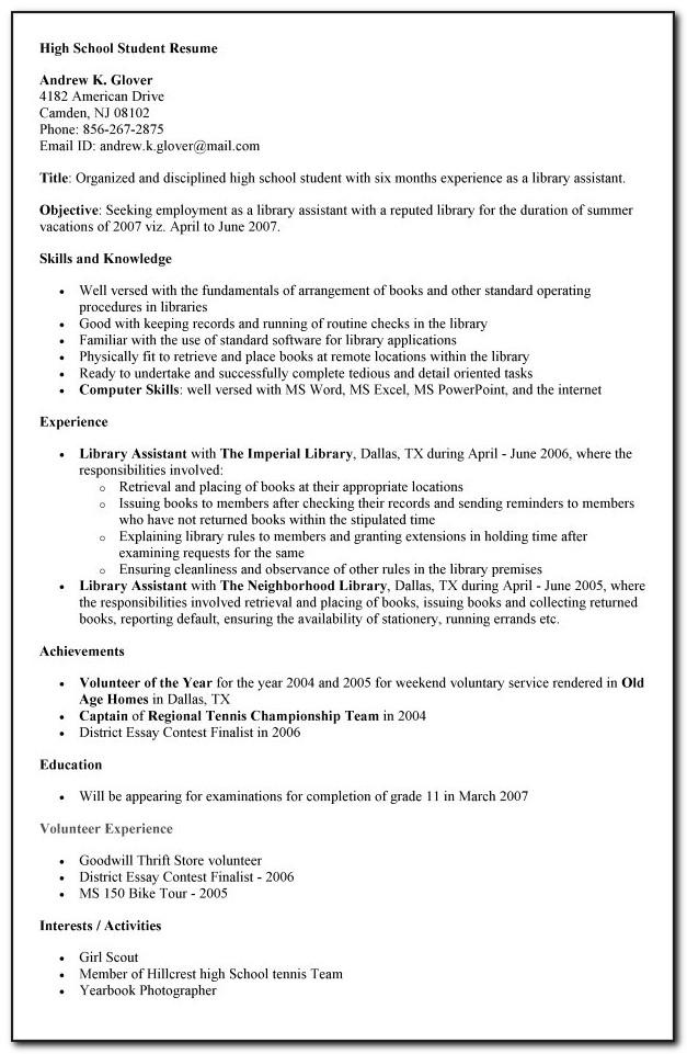 Resume Examples For Students Still In High School
