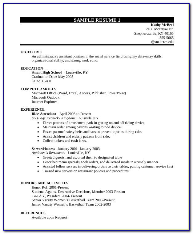 Resume Examples Student High School