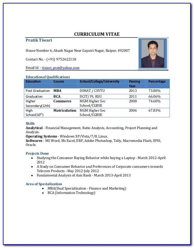 Resume Format For Bba Freshers Pdf Download