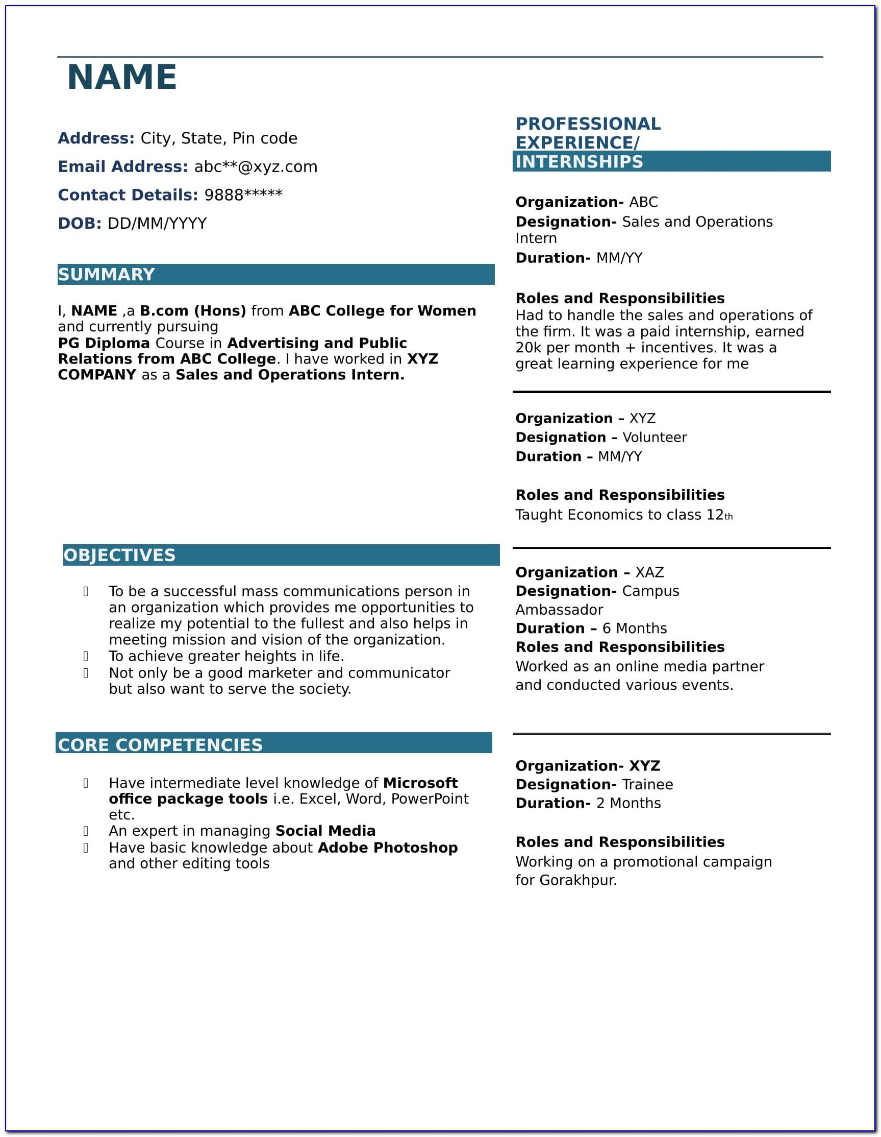 Resume Format For Bcom Students With No Experience Download