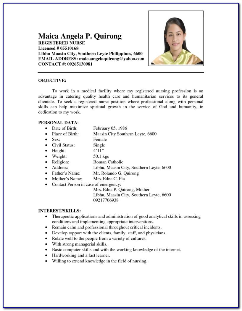 Resume Format For Bsc Nursing Student