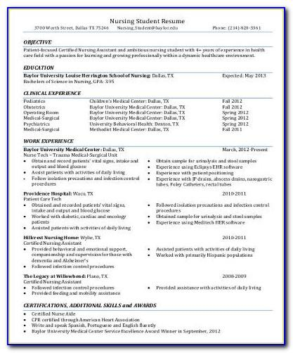 Resume Format For Certified Nursing Assistant