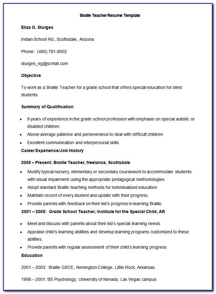 Resume Format For Faculty Position