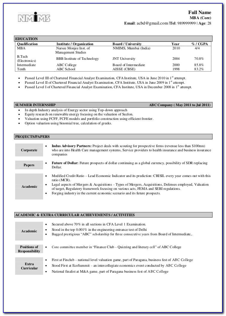 Resume Format For Financial Analyst