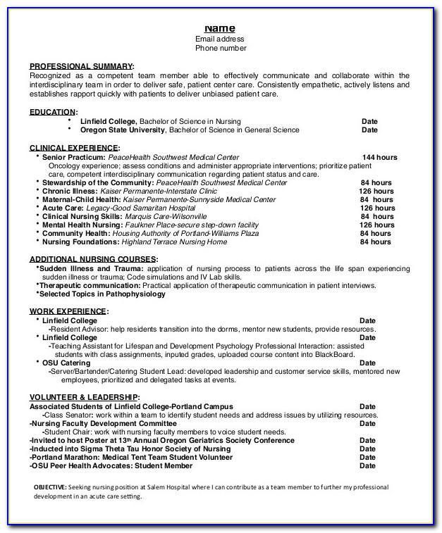 Resume Format For Fresh Nursing Graduate