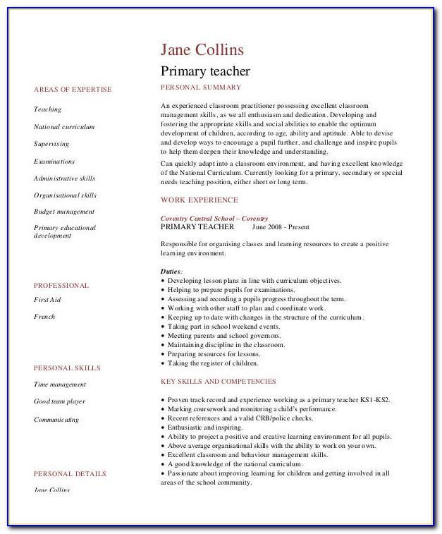 Resume Format For Lecturer Pdf