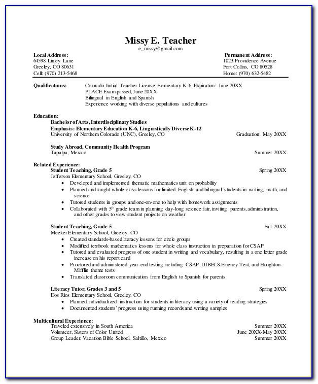 Resume Format For Lecturer Post Fresher