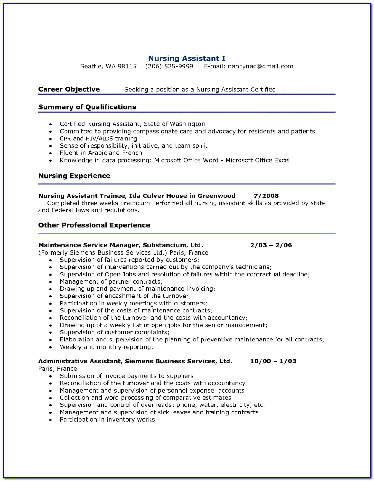 Resume Format For Nursing Assistant