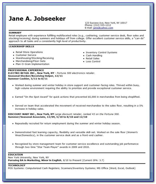 Resume Format For Retail Job