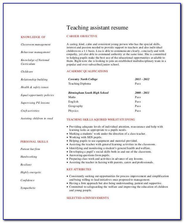 Resume Format For School Teacher Job For Freshers