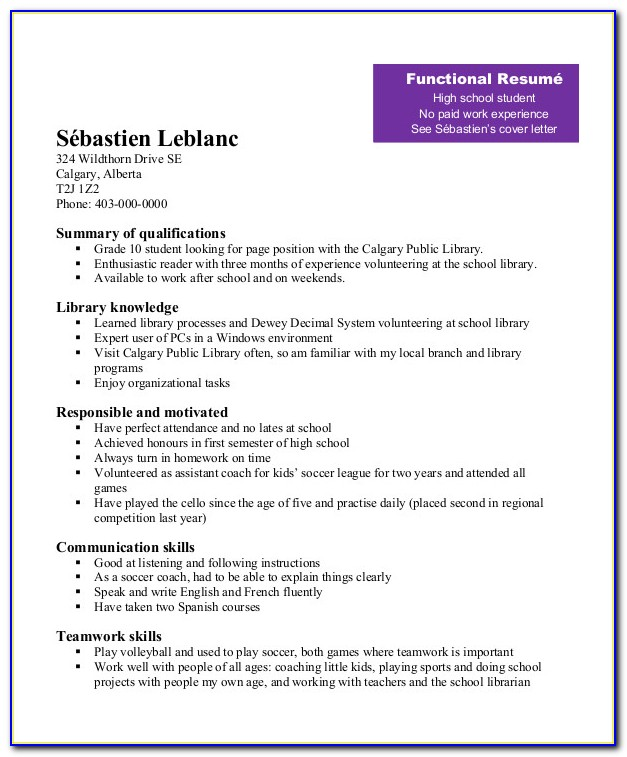 Resume Format For Senior High School Graduate