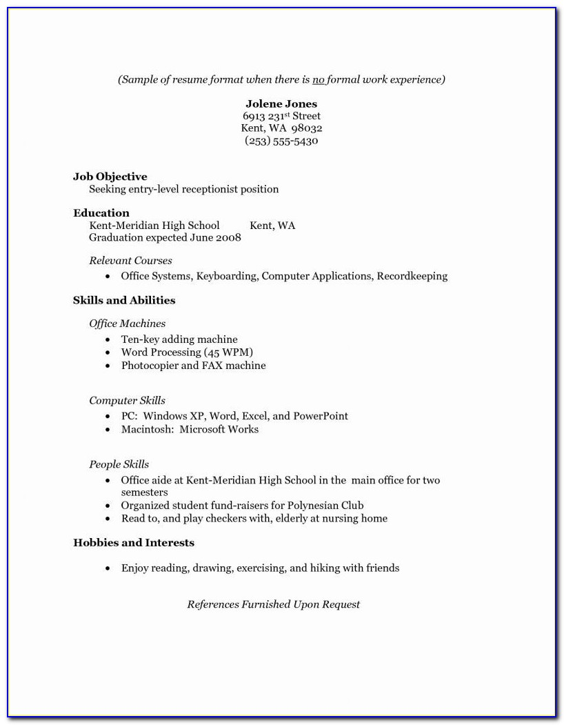 Resume Format For Senior High School Work Immersion