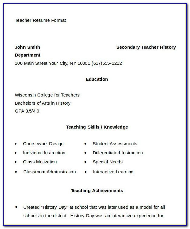 Resume Format For Teacher Job Doc