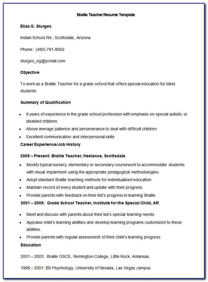 Resume Format For Teachers Free Download