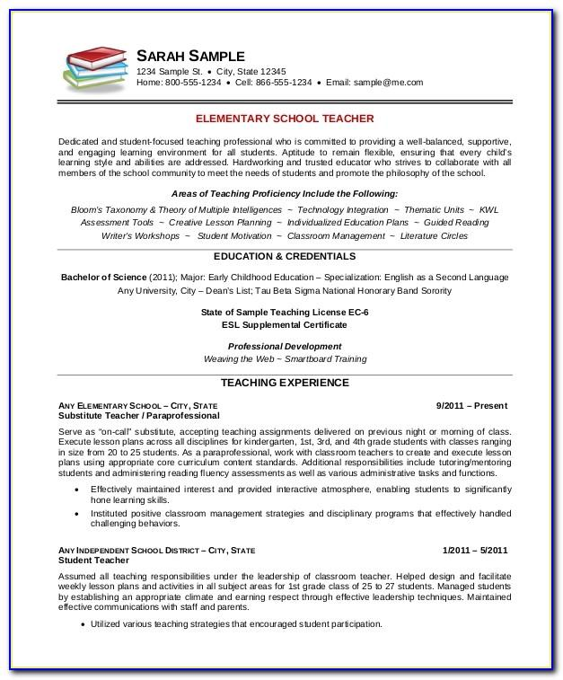 Resume Format For Teachers Job Free Download