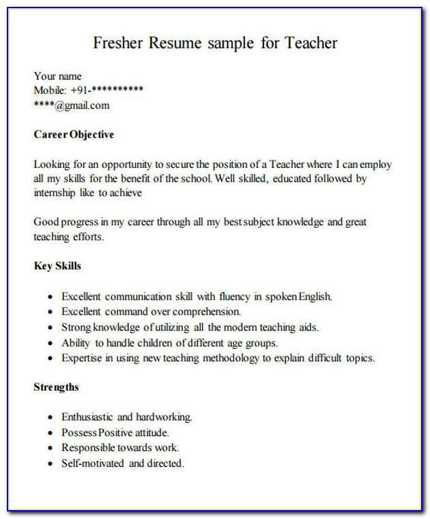 Resume Format For Teachers Pdf Free Download
