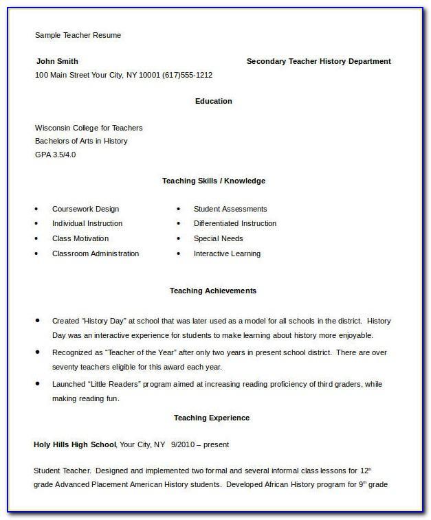 Resume Format For Teaching Job Doc