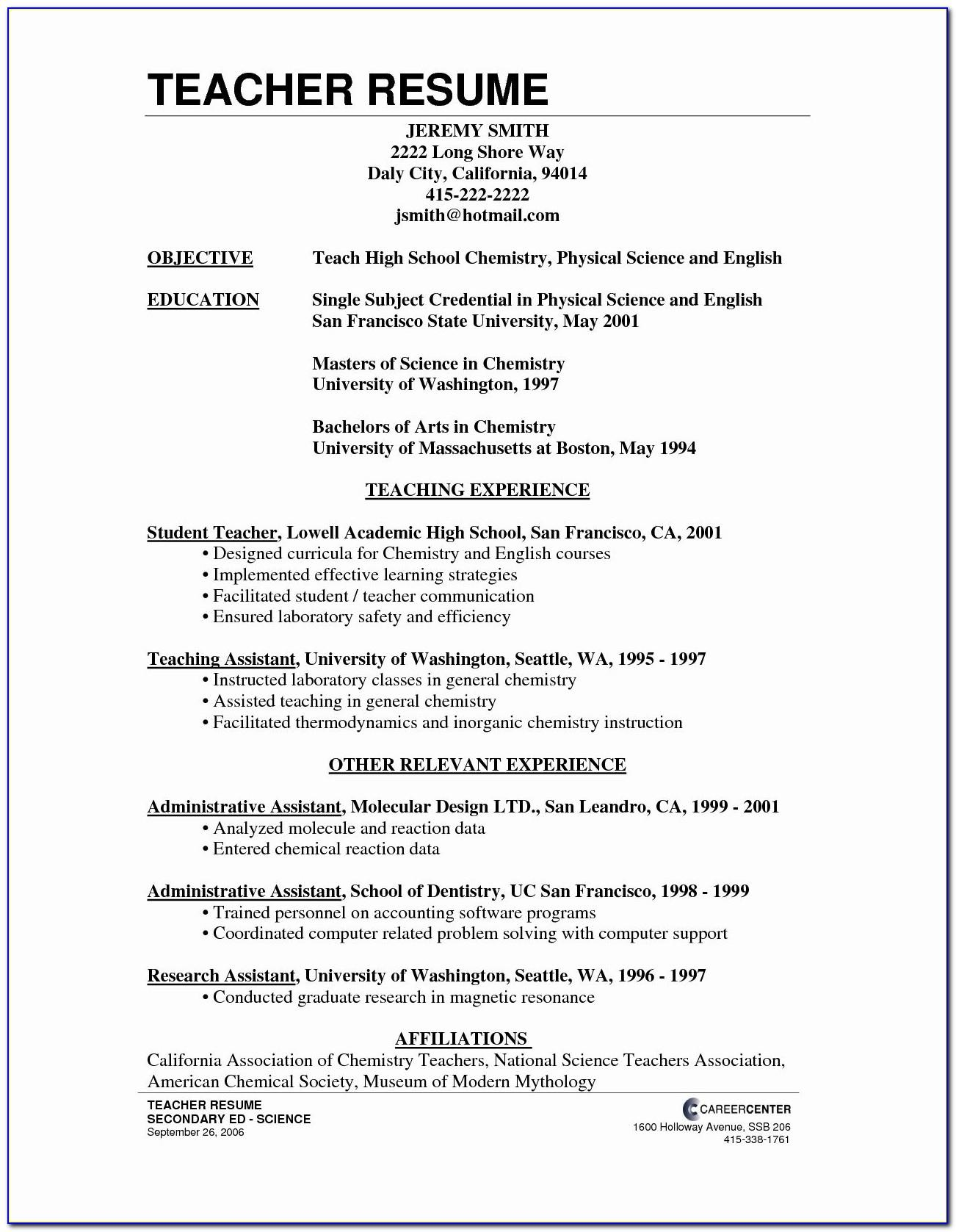 Resume Format For Teaching Job In School Pdf