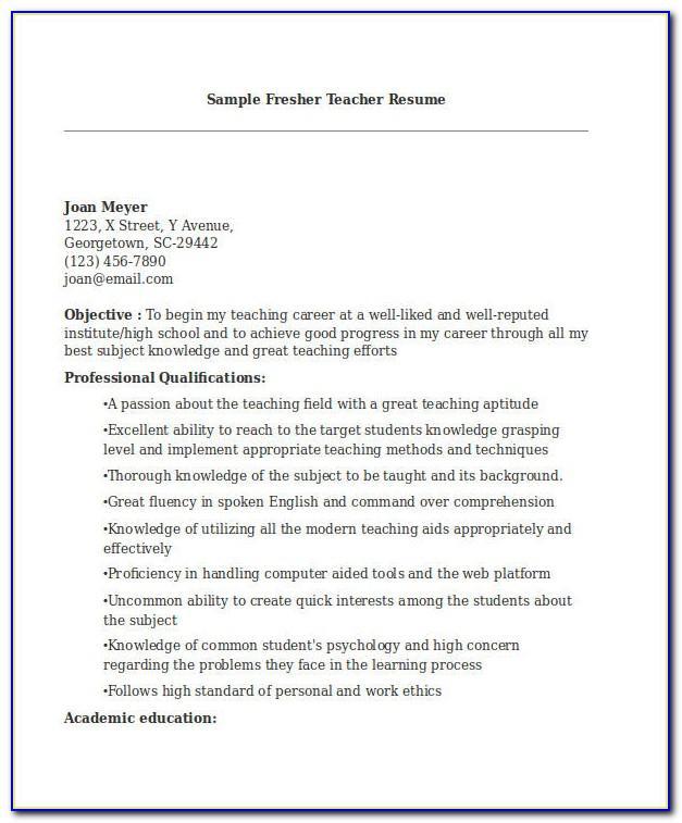 Resume Format For Teaching Job Pdf