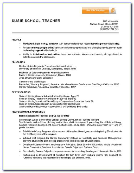 Resume Format For Teaching Position