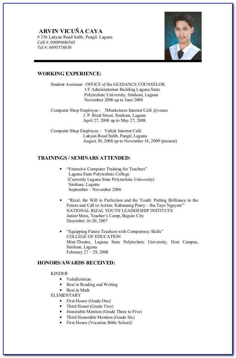 Resume Format Ms Word 2007 Download