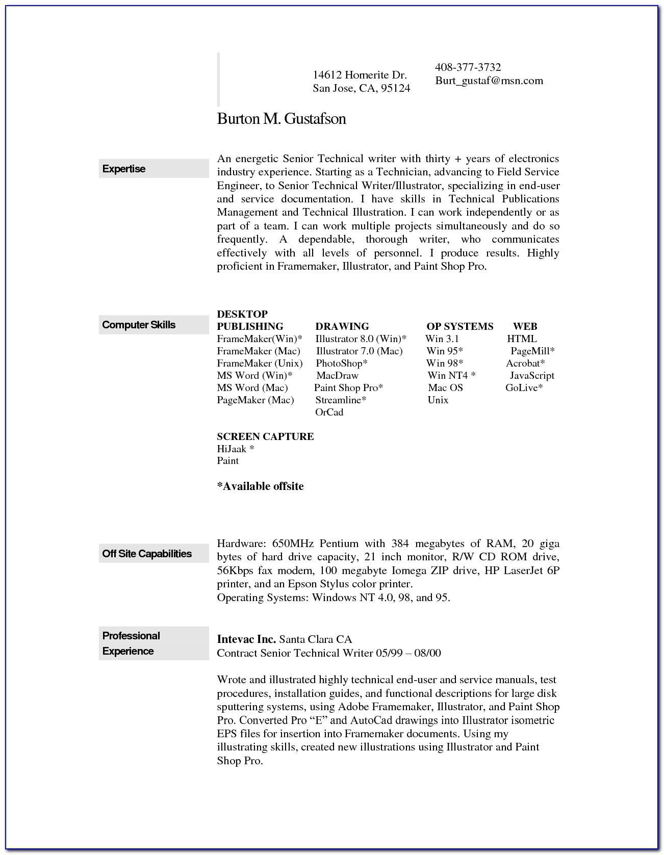 Resume Format Ms Word File Download