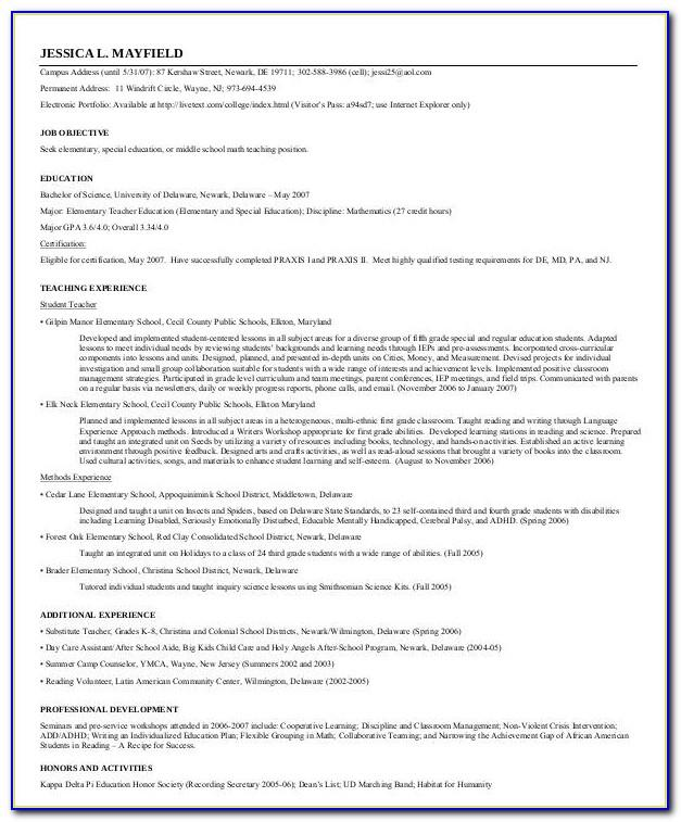 Resume Format Pdf Download For Experienced Teachers