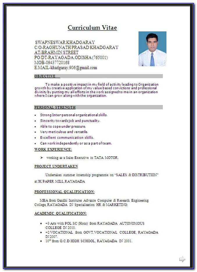Resume Format Pdf For Diploma Freshers Download