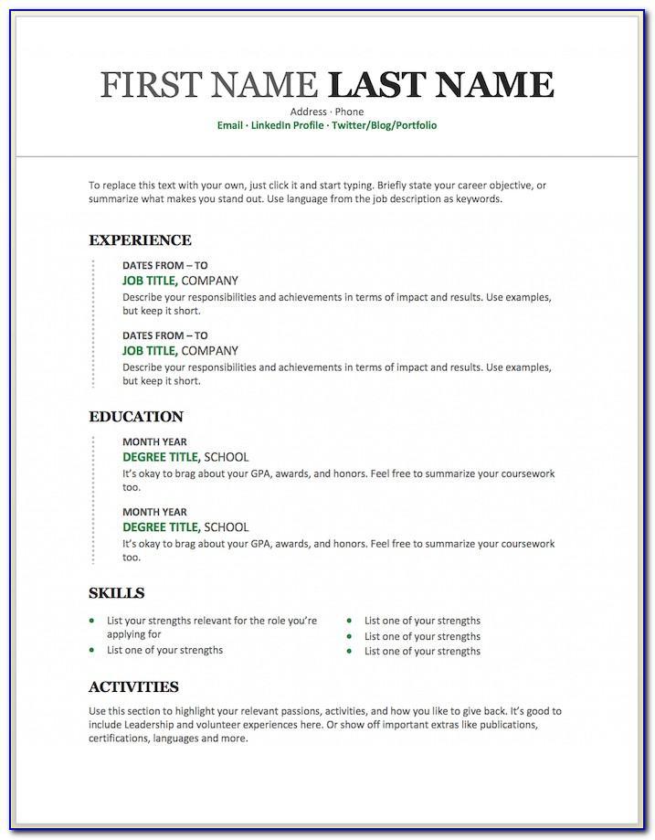 Resume Format Template Microsoft Word
