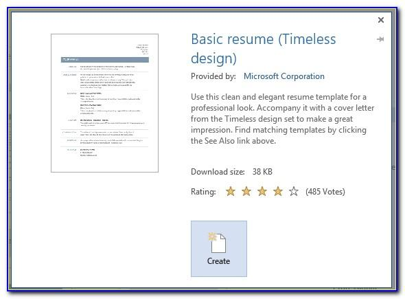 Resume Layout Word 2013