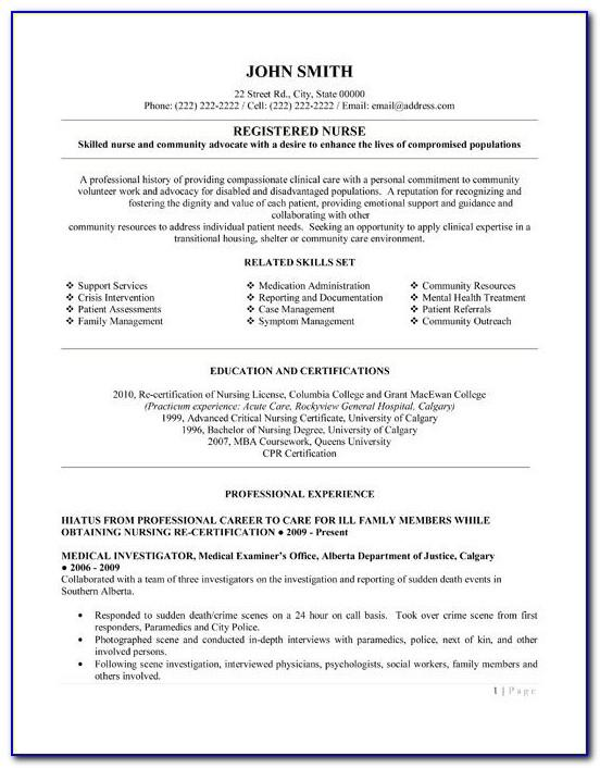 Resume Objective Examples For Registered Nurse