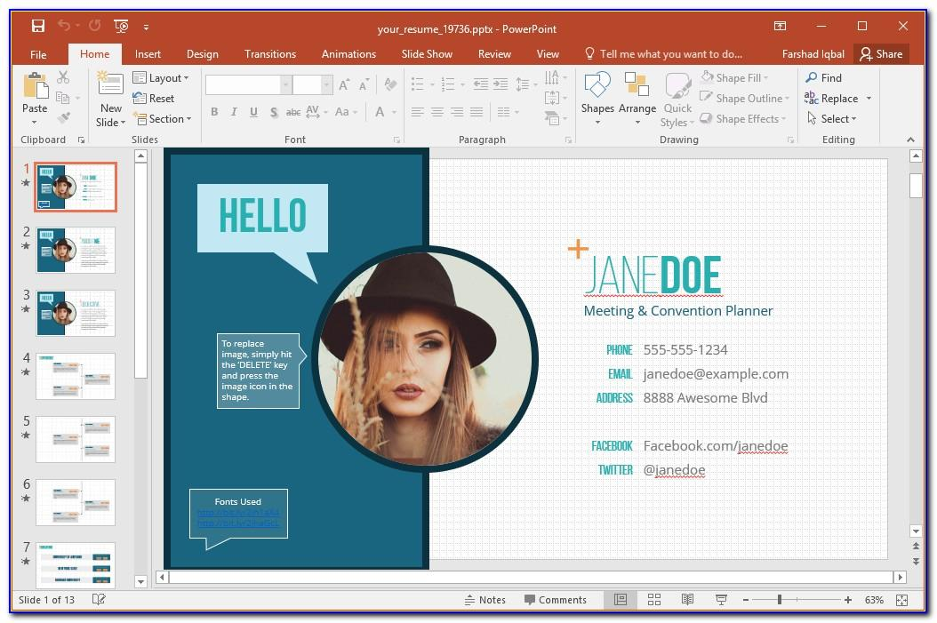 Resume Powerpoint Templates Free Download