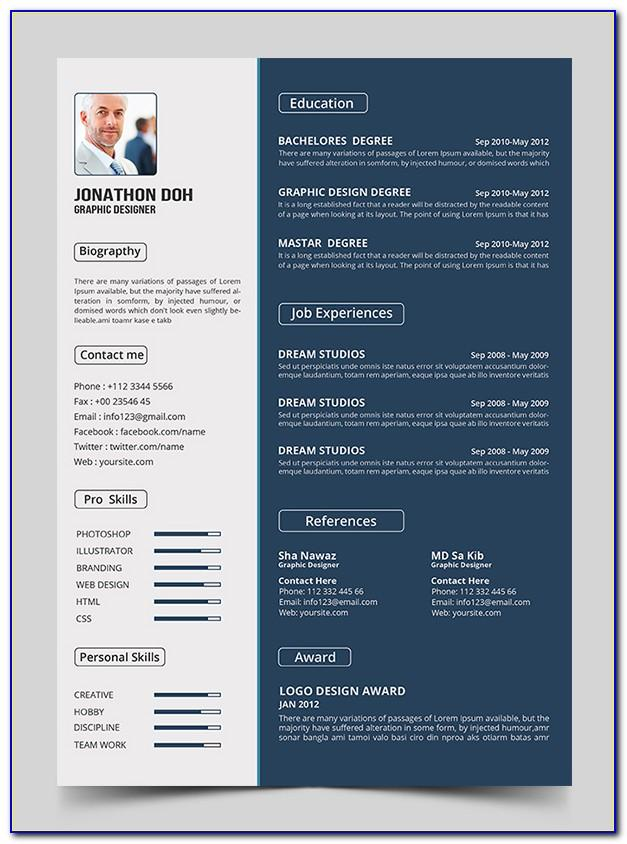 Resume Psd Template Free Download